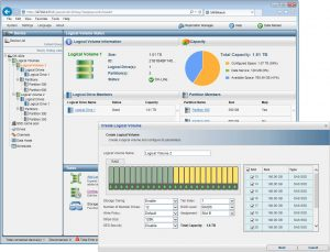 SANWatch makes light work of creating RAID–protected logical volumes and storage partitions
