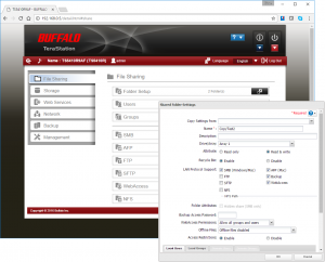 The web interface is well designed and the appliance provides good share access controls