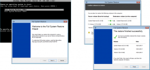 We used the Client Restore Services to run a full bare metal recovery of a Windows 10 desktop